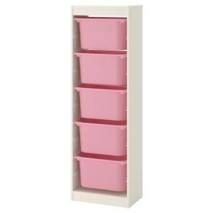 ТРУФАСТ Комбинация д/хранения+контейнеры, белый, розовый