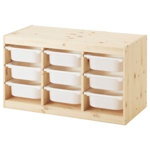 ТРУФАСТ Комбинация д/хранения+контейнеры, светлая беленая сосна, белый