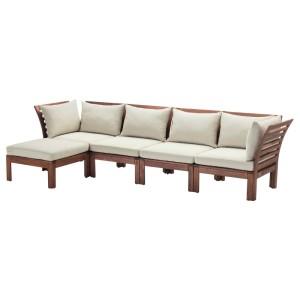 ЭПЛАРО 4-местный модульный диван, садовый, с табуретом для ног коричневая морилка коричневая морилка, Холло бежевый