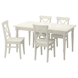 ИНГАТОРП / ИНГОЛЬФ Стол и 4 стула, белый