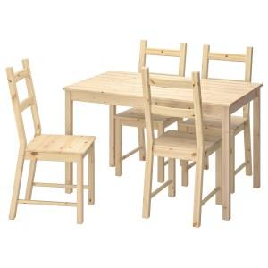 ИНГУ / ИВАР Стол и 4 стула, сосна