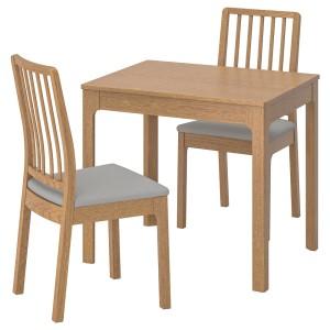 ЭКЕДАЛЕН / ЭКЕДАЛЕН Стол и 2 стула, дуб, Рамна Оррста светло-серый