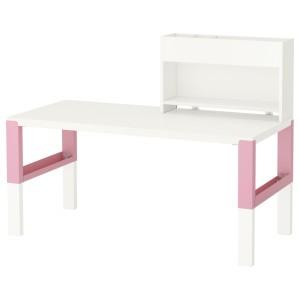 ПОЛЬ Стол с дополнительным модулем, белый, розовый