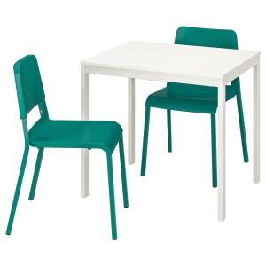 ВАНГСТА / ТЕОДОРЕС Стол и 2 стула, белый, зеленый