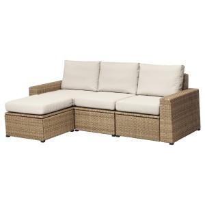 СОЛЛЕРОН 3-местный модульный диван, садовый, с табуретом для ног коричневый коричневый, ФРЁСЁН/ДУВХОЛЬМЕН бежевый