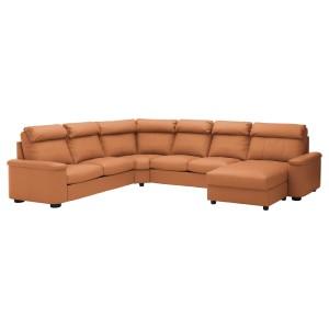 ЛИДГУЛЬТ Угловой 6-местный диван, с козеткой, Гранн/Бумстад золотисто-коричневый