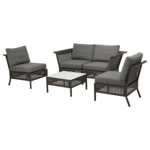 КУНГСХОЛЬМЕН 4-местный комплект садовой мебели, черно-коричневый, ФРЁСЁН/ДУВХОЛЬМЕН темно-серый