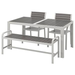 ШЭЛЛАНД Стол+2стула+скамья,д/сада, темно-серый, светло-серый