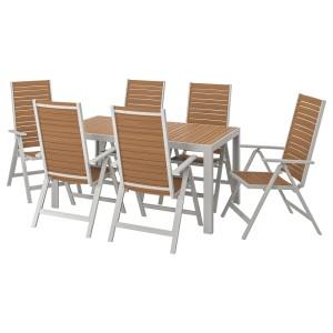 ШЭЛЛАНД Стол+6кресел,д/сада, светло-коричневый, светло-серый