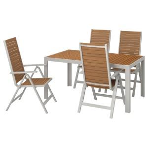 ШЭЛЛАНД Стол+4 кресла, д/сада, светло-коричневый, светло-серый