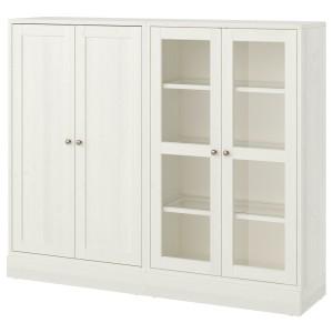 ХАВСТА Комбинация для хранения с сткл двр, белый