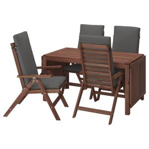 ЭПЛАРО Стол+4 кресла, д/сада, коричневая морилка, ФРЁСЁН/ДУВХОЛЬМЕН темно-серый