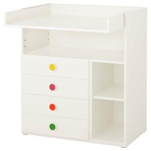 СТУВА / ФОЛЬЯ Пеленальный столик с 4 ящиками, белый