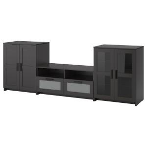 БРИМНЭС Шкаф для ТВ, комбин/стеклян дверцы, черный
