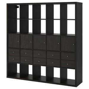 КАЛЛАКС Стеллаж с 10 вставками, черно-коричневый