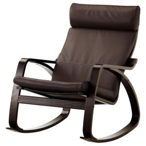ПОЭНГ Кресло-качалка, черно-коричневый, Глосе темно-коричневый