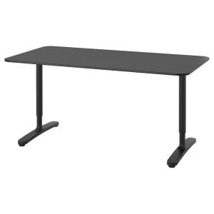 БЕКАНТ Письменный стол, ясеневый шпон/черная морилка, черный