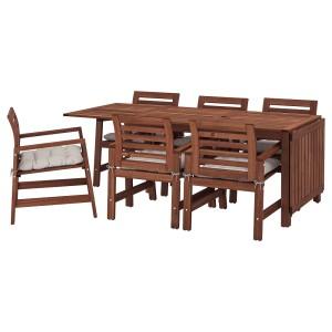ЭПЛАРО Стол+6 кресел,д/сада, коричневая морилка, Куддарна серый