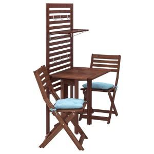 ЭПЛАРО Панель+стол+2 стула, коричневая морилка, Куддарна синий голубой