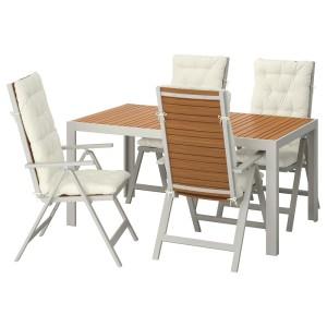 ШЭЛЛАНД Стол+4 кресла, д/сада, светло-коричневый, Куддарна бежевый