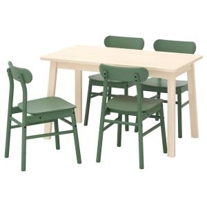НОРРОКЕР / РЁННИНГЕ Стол и 4 стула, береза зеленый