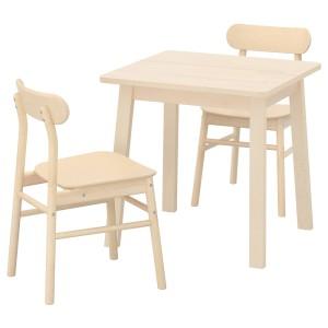 НОРРОКЕР / РЁННИНГЕ Стол и 2 стула, береза, береза