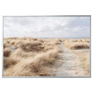 БЬЁРКСТА Картина с рамой, Песчаные дюны, цвет алюминия