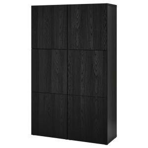 БЕСТО Комбинация для хранения с дверцами, черно-коричневый, ТИММЕРВИКЕН черный