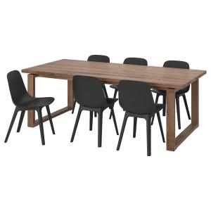 МОРБИЛОНГА / ОДГЕР Стол и 6 стульев, дубовый шпон, антрацит
