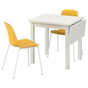 НОРДВИКЕН / ЛЕЙФ-АРНЕ Стол и 2 стула, белый, Брур-Инге темно-желтый