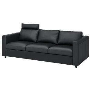 ВИМЛЕ 3-местный диван, с изголовьем, Гранн/Бумстад черный