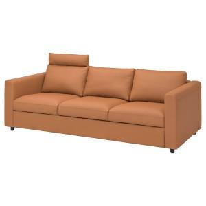 ВИМЛЕ 3-местный диван, с изголовьем, Гранн/Бумстад золотисто-коричневый