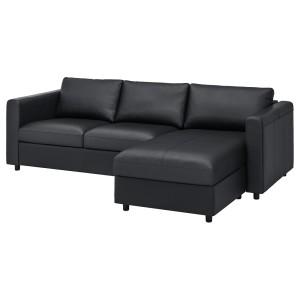 ВИМЛЕ 3-местный диван, с козеткой, Гранн/Бумстад черный