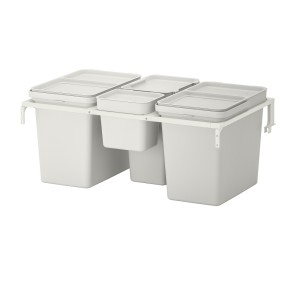 ХОЛЛБАР Решение для сортировки мусора, для кухонных ящиков МЕТОД, светло-серый