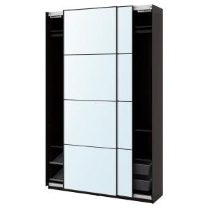 ПАКС / АУЛИ Гардероб, комбинация, черно-коричневый, зеркальное стекло