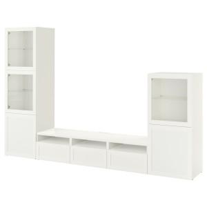 БЕСТО Шкаф для ТВ, комбин/стеклян дверцы, белый, Ханвикен белый прозрачное стекло