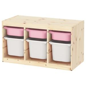ТРУФАСТ Комбинация д/хранения+контейнеры, светлая беленая сосна розовый, белый