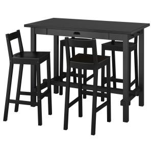НОРДВИКЕН / НОРДВИКЕН Барн стол+4 барн стула, черный, черный
