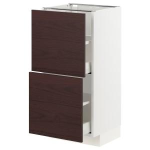 МЕТОД / МАКСИМЕРА Напольный шкаф с 2 ящиками, белый Аскерсунд, темно-коричневый под ясень