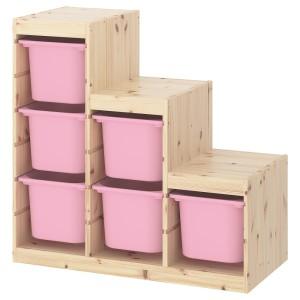 ТРУФАСТ Комбинация д/хранения, светлая беленая сосна, розовый