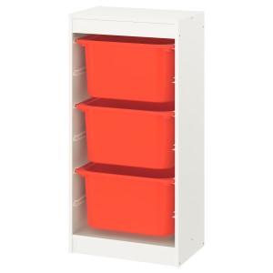 ТРУФАСТ Комбинация д/хранения+контейнеры, белый, оранжевый