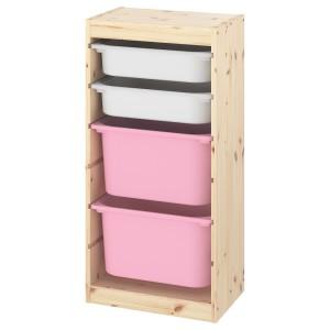 ТРУФАСТ Комбинация д/хранения+контейнеры, светлая беленая сосна белый, розовый