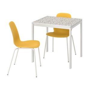 МЕЛЬТОРП / ЛЕЙФ-АРНЕ Стол и 2 стула, мозаичный орнамент белый, Брур-Инге белый
