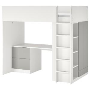 СМОСТАД Кровать-чердак, белый серый, с письменным столом с 3 ящиками
