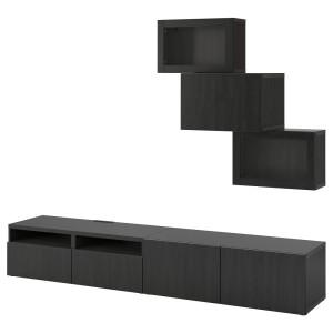 БЕСТО Шкаф для ТВ, комбин/стеклян дверцы, черно-коричневый, Лаппвикен черно-коричневый прозрачное стекло