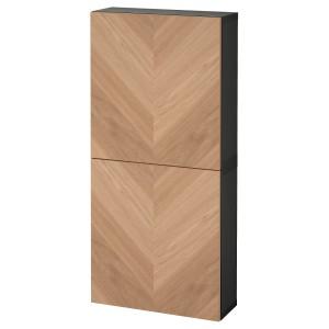 БЕСТО Навесной шкаф с 2 дверями, черно-коричневый, хедевикен дубовый шпон