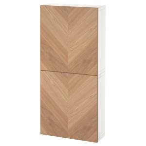БЕСТО Навесной шкаф с 2 дверями, белый, хедевикен дубовый шпон