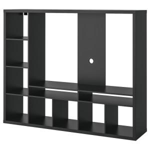 ЛАППЛАНД Шкаф для ТВ, черно-коричневый