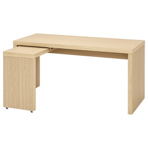 МАЛЬМ Письменный стол с выдвижной панелью, дубовый шпон, беленый