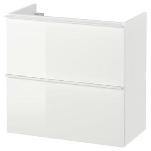 ГОДМОРГОН Шкаф для раковины с 2 ящ, глянцевый белый